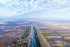 Aerial view of loudias river in north Greece, in the winter seas Stock Photography