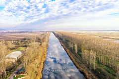 Aerial view of loudias river in north Greece, in the winter seas Stock Images