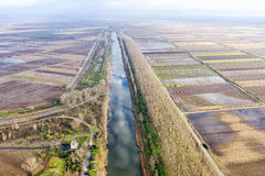 Aerial view of loudias river in north Greece, in the winter seas Royalty Free Stock Images