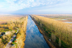 Aerial view of loudias river in north Greece, in the winter seas Royalty Free Stock Photos