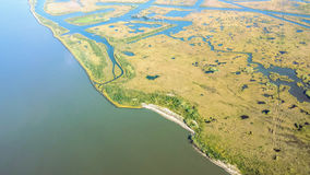 Aerial View of Louisiana Wetlands stock photography
