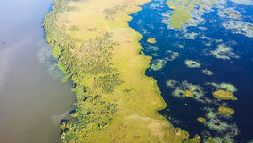 Aerial View of Louisiana Wetlands. An aerial view of the wetlands in south Louisiana royalty free stock photo