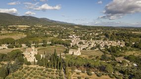 Aerial view of Lourmarin castle and village in southeastern France Royalty Free Stock Image
