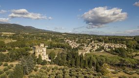 Aerial view of Lourmarin castle and village in southeastern France Stock Image