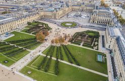 Aerial view of Louvre museum. Paris, France Stock Image