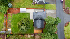 Aerial view of lovely green home Stock Photography