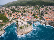 Aerial view of Lovrijenac fortress. Near old town Dubrovnik in Croatia Royalty Free Stock Image