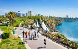 Aerial view of Lower Duden waterfall in Antalya, Turkey. Royalty Free Stock Photo