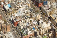 Aerial view of lower Manhattan. With curious adaptations in the roofs of buildings Royalty Free Stock Photos