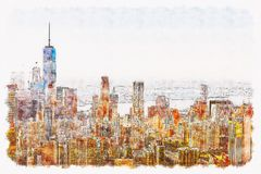 Aerial view of lower Manhattan NYC vector illustration