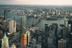 Aerial view of lower Manhattan stock images
