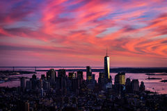 Aerial view of lower Manhattan in wild pink colors of sunset Royalty Free Stock Photo