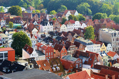 Aerial view of Lubeck old city, Germany Royalty Free Stock Photos