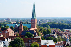 Aerial view of Lubeck old city, Germany Royalty Free Stock Photography