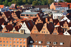 Aerial view of Lubeck old city, Germany Royalty Free Stock Image