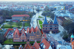 Aerial view of Lubeck from the Saint Petri Church tower Stock Images