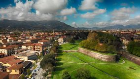 Aerial view of Lucca buildings, Tuscany.  Stock Photography