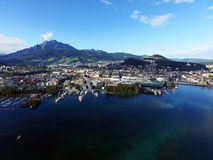 Aerial view, Lucerne and boat Pier, KKL, Switzerland Stock Image