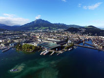Aerial view, Lucerne, KKL, Switzerland Royalty Free Stock Images