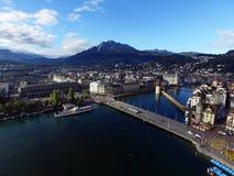 Aerial view, Lucerne and Mount Pilatus, Switzerland Stock Photos