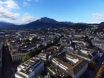 Aerial view, Lucerne and Mount Pilatus, Switzerland Stock Photography