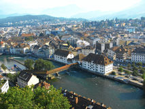 Aerial view of Lucerne, Switzerland. Lucerne is a city in Switzerland. It is the capital of the Canton of Lucerne and seat of the district with the same name Stock Images