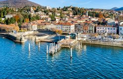 Aerial view of Luino, province of Varese, Italy. stock image
