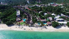 Aerial view of luxuri hotel on Samui island stock video