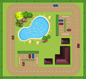 Aerial view of luxurious house vector illustration