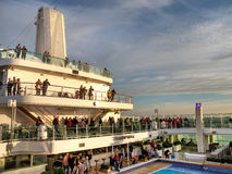 An aerial view of a luxury cruise ship pool area Stock Photography