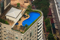 Aerial View of Luxury Hotel Rooftop Pool stock images