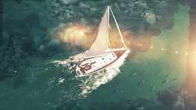 Aerial view of luxury medium cruise ship sailing from port on sunrise through the bay. 3d illustration Royalty Free Stock Image