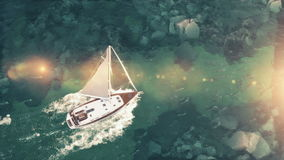 Aerial view of luxury medium cruise ship sailing from port on sunrise through the bay. 3d illustration Royalty Free Stock Photo