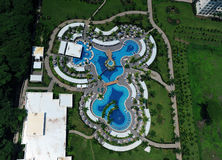 Aerial view of luxury resort pool Royalty Free Stock Photo