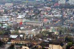 Aerial view of Lviv Stock Photo