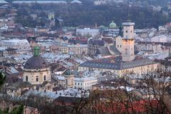Aerial view of Lviv Stock Photos