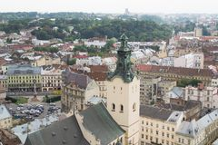 Aerial view of Lviv arcitecture Royalty Free Stock Photography