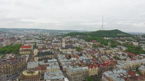 Aerial View of Lviv City stock footage