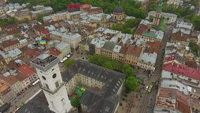 Aerial View of Lviv City stock video footage