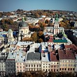 Aerial view of Lviv old town Royalty Free Stock Images