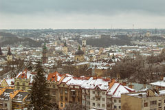 Aerial view of city Lviv, Ukraine Stock Images