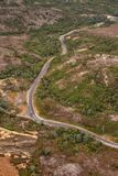Aerial view of the Lyell Highway. Nearing the former mining town of Queenstown on the west coast of Tasmania stock images