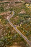 Aerial view of the Lyell Highway. Nearing the former mining town of Queenstown on the west coast of Tasmania royalty free stock photo
