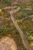 Aerial view of the Lyell Highway. Nearing the former mining town of Queenstown on the west coast of Tasmania stock photo