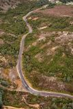 Aerial view of the Lyell Highway. Nearing the former mining town of Queenstown on the west coast of Tasmania stock image