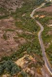 Aerial view of the Lyell Highway. Nearing the former mining town of Queenstown on the west coast of Tasmania royalty free stock images