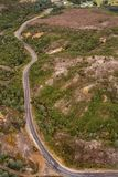 Aerial view of the Lyell Highway. Nearing the former mining town of Queenstown on the west coast of Tasmania stock photography
