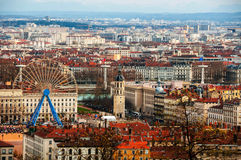 Aerial view of Lyon in autumn. With Ferris Wheel and historical buildings. Popular touristic big city in France Stock Photography