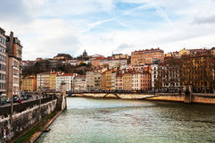Aerial view of Lyon in autumn. With River and Bridge, France. Historical buildings with cloudy blue sky Royalty Free Stock Photo