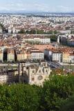 Aerial view of Lyon city Stock Photos